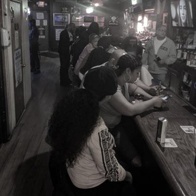 People at Schemenski's in Camden