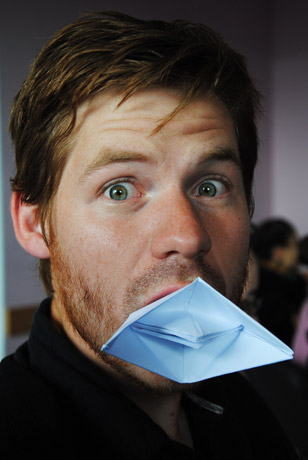 Michael Zier with paper stuck in his face