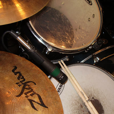 Drumset with a recording setup