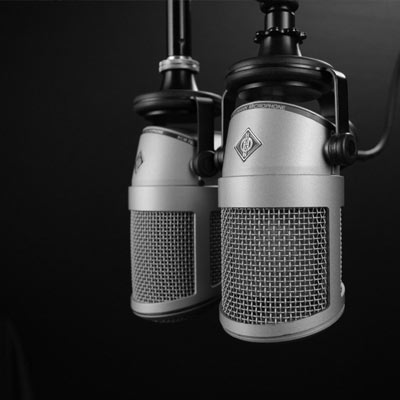 two microphones in a studio